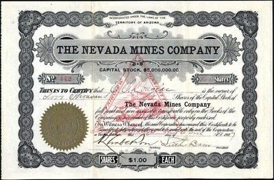 Nevada Mines Co, 1907, Territory Of Az, Uncancelled Stock Certificate
