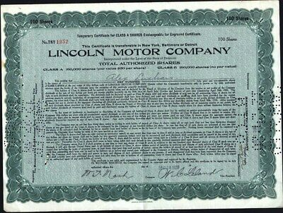 Lincoln Motor Co, 1920, Unusual Due To The Fact That No Cancel Marks Thru Names