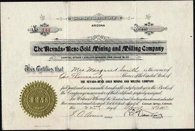 Nevada=Reno Gold Mining And Milling Co., 1907, Mines In Goldfield, Nv. Scarce
