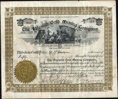 Cripple Creek, Co.: Idlewild Gold Mining Co, 1898, Uncancelled Stock Certificate