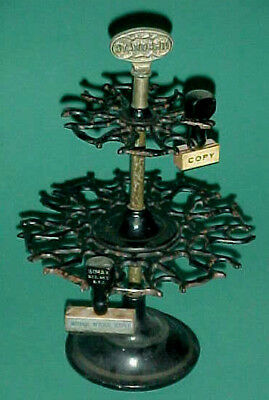 Antique [Cast Iron!] Rubber Stamp Carousel / Holder [Two 2 tiers!] GREAT PAINT!