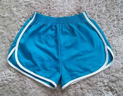 Vintage Blue Running Shorts with White Trim