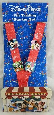 Disney Parks Delicious Food Mickey & Gang Pin Trading Starter Set 4 Lanyard Card