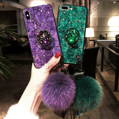 For iPhone 6 7 8 Plus X XR XS MAX Bling Diamond Marble Case with  Up Holder