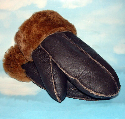 NEW HANDMADE MENS Brown REAL SHEARLING SHEEPSKIN MITTENS MITTS GLOVES SIZE L-XL