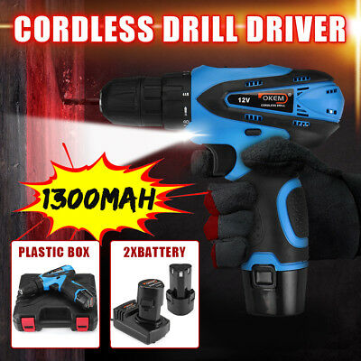 12V Cordless Drill Driver Electric Screwdriver Dual Li-Ion Battery Led light
