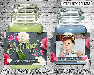 Personalised Mothers Day Yankee Candle Label Happy Birthday Gift Mum Mummy Photo