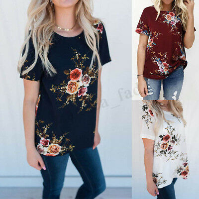 ZANZEA Women Spring Short Sleeve Floral Crew Neck Tops Blouse T Shirt Pullover