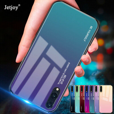 Shockproof Gradient Tempered GLASS Case BACK Cover For Huawei Mate20 Lite P20Pro