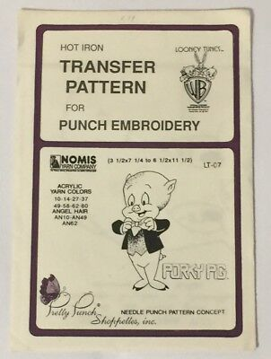 Pretty Punch Hot Iron Transfer Pattern Embroidery LT-07 Porky Pig Looney Tunes