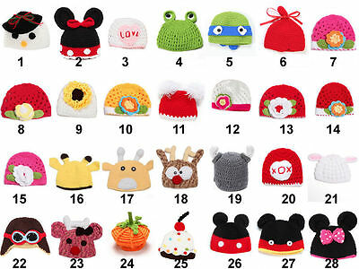 Baby Newborn Boy Girl Knit Crochet Hat Photography Prop Christmas Costume Beanie