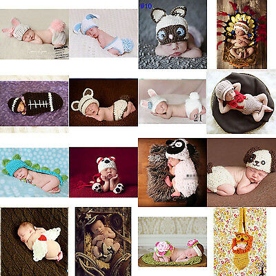 Newborn Boys Girls Baby Crochet Knit Costume Photography Photo Props Hat Outfit