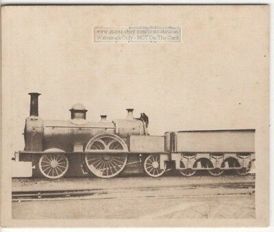 """1850s """"Large Bloomer"""" Single Wheel Express Train Engine 1920s Ad Trade Card"""