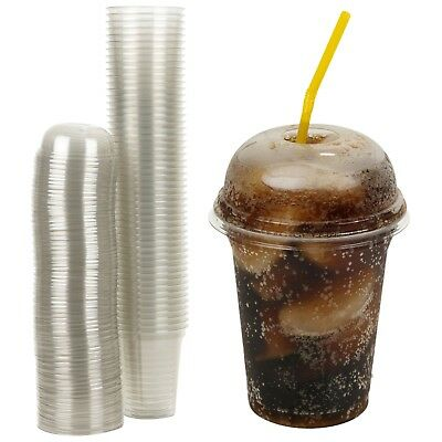 12oz Disposable Smoothie Cups & Domed Lids Clear Plastic Party Milkshake Juice