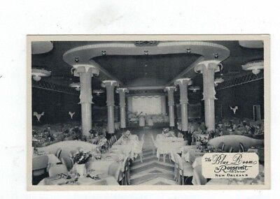 LA New Orleans Louisiana antique post card Roosevelt Hotel Blue Room view