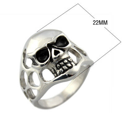New Hot Punk Men Women Fashion Band Rare Skull Size 9-12 Stainless Steel Ring