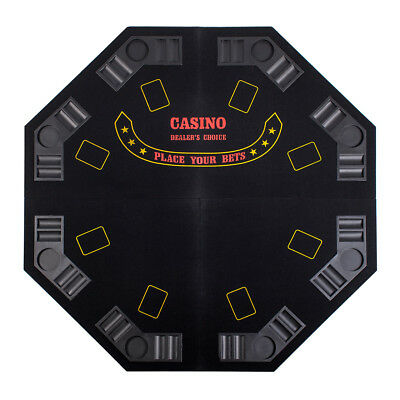 """Black Octagon 48"""" 8 Player Four Fold Folding Poker Table Top & Carrying Case"""