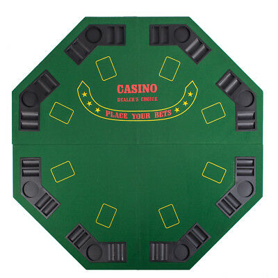 """Green Octagon 48"""" 8 Player Four Fold Folding Poker Table Top & Carrying Case"""