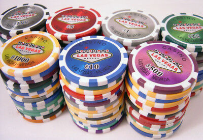 500 14g REAL CLAY LAS VEGAS LASER STICKER POKER CHIPS