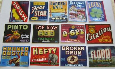 """Lot of  13 Old Vintage 1940's - Vegetable Crate LABELS - 5""""x7"""" - All Different"""
