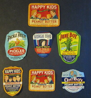 Lot of 7 Old 1930's PEANUT BUTTER & PICKLE JAR LABELS - Cairo Georgia