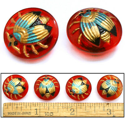 18mm Vintage Czech Glass Red Blue GOLD FLY Insect Buttons 4pc GREAT FOR CLASPS