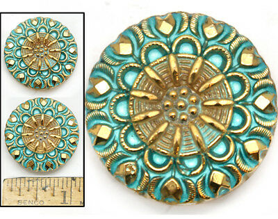 27mm Vintage Czech Glass Turquoise Gold Lacy Mandala Burst Flower Buttons 2pc