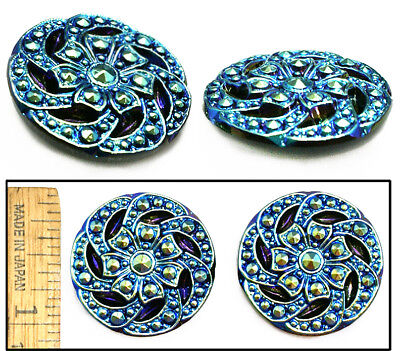 27mm Vintage Czech Glass 2-Tone BLUE AB Nailhead Swirling 3-D Flower Buttons 2pc