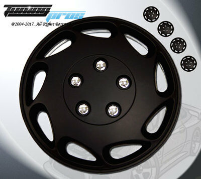 """17/"""" Inches Hubcap Style#026 4pcs Set of 17 inch Wheel Rim Skin Cover Matte Black"""