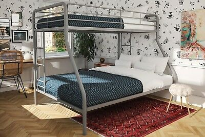 Silver Twin Over Full Bunk Bed Mattress Set Kids Furniture Bunkbed