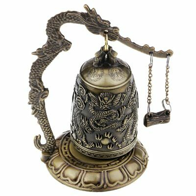 VINTAGE Bronze Carved Chinese Dragon Buddhist Bell