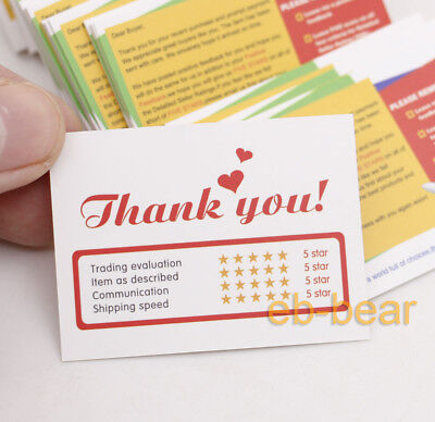 100 Pcs Ebay Seller Thank You Business Cards Reminder Buyer 5 Star 55MM*40MM