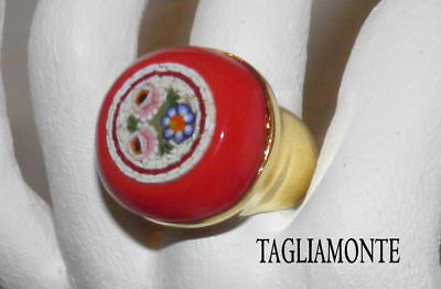 TAGLIAMONTE(876)Ring SZ7*YGP/925*Floral Micro-Mosaic*Red Venetian Glass Border