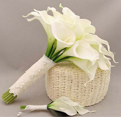12×Pure White Artificial Calla Lily Real Touch Flower Home Decor Wedding Bouquet