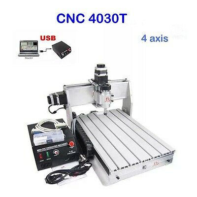4 Axis Cnc Router Engraver Engraving Machine 3040T Cutter Drilling Carving Great