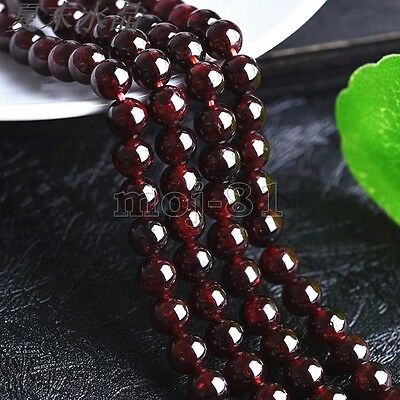 "Genuine 8MM Natural Dark Red Garnet Round Gemstone Loose Beads 15"" Strand AAA"
