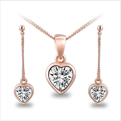 Valentine Gifts Silver/Gold White Sapphire Heart Pendant Necklace Earrings Set