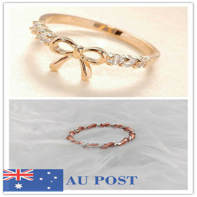 18K Gold Plated Fashion Woman ring bow ring set with rhinestones wedding Gifts