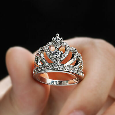 Romantic Princess Crown Heart Bridal Wedding Ring 925 Silver Jewelry Gift Sz5-10