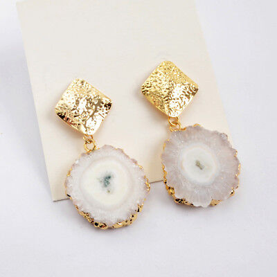 1Pair Gold Plated Natural White Solar Quartz Druzy Earrings Crystal Studs HG1594