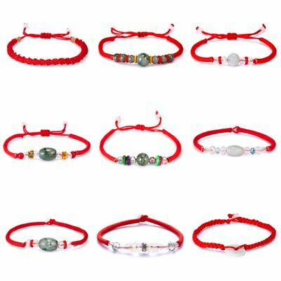 Simple Handmade Chinese Lucky Bead Red Thread Good Luck Rope Bracelets Unisex