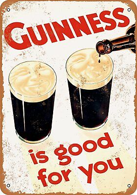 """1929 Guinness is Good for You Rustic Retro Metal Sign 9"""" x 12"""""""