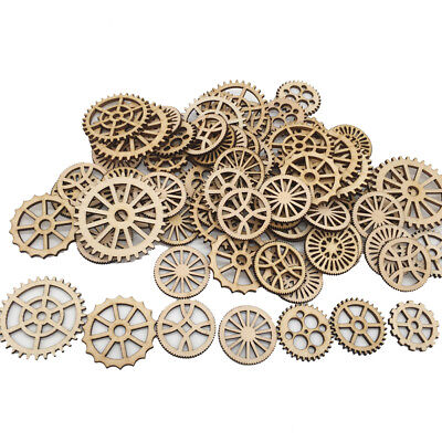50*Laser Cut Wood Gear Embellishment Wooden Shape Craft Wedding Home Decorating