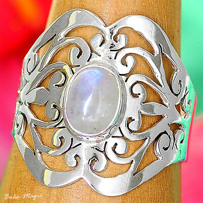 925 Sterling Silver Filigree Ring Natural Quartz Gemstone Women Jewelry Size 6