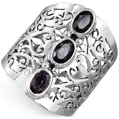 925 Sterling Silver Filigree Ring Natural Onyx Gemstone Women Jewelry Size 5.5