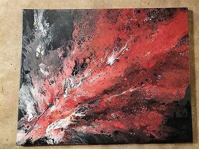 "Abstract Modern Acrylic Pour Painting on Canvas-Beautiful Wall Art 36""x24"""