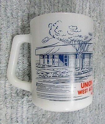 Vintage Federal Glass Mug Old Union State Bank West Acres Fargo ND FDIC FREE S/H