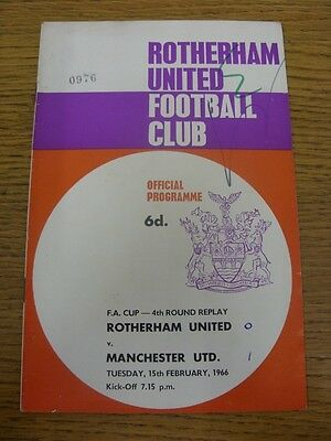 15/02/1966 Rotherham United v Manchester United [FA Cup Replay] (team changes, w