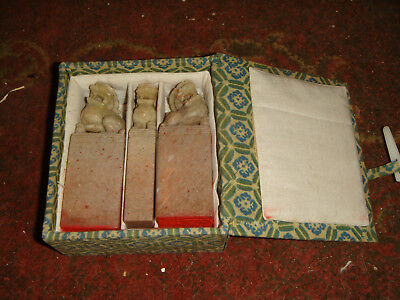 Boxed Set of 3 Asian Seal Stamps ? - FOO DOGS - Soapstone? Stone?
