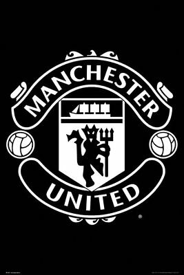 Manchester United FC Poster - CLUB CREST B&W - New MUFC Football poster SP1476